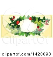 Blank Oval Banner Framed With Strawberries Briar Fruits And Gooseberries On Beige