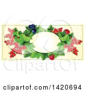 Clipart Of A Blank Oval Banner Framed With Raspberry Blueberry Red Currants On Beige Royalty Free Vector Illustration
