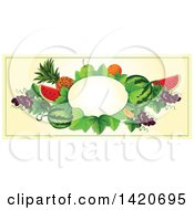 Clipart Of A Blank Oval Banner Framed With BLANK On Beige Royalty Free Vector Illustration