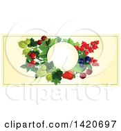Blank Oval Banner Framed With Strawberries Cherries Blueberries Gooseberries And Briar Fruits On Beige