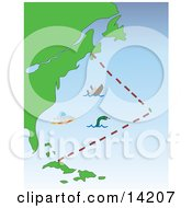 Sea Monster Sinking Ship And UFO In The Bermuda Triangle Clipart Illustration by Rasmussen Images
