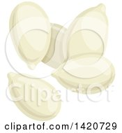 Clipart Of Pumpkin Seeds Royalty Free Vector Illustration by Seamartini Graphics