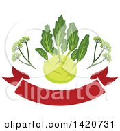 Clipart Of A Kohlrabi Over A Banner Royalty Free Vector Illustration by Seamartini Graphics