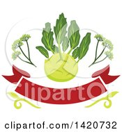 Clipart Of A Kohlrabi Over A Banner Royalty Free Vector Illustration