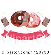 Clipart Of A Blank Banner With Donuts And Chocolate Bars Royalty Free Vector Illustration by Seamartini Graphics