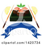 Clipart Of Sushi Rolls With Red Caviar Chopsticks And Lemon Wedges Over A Blank Banner Royalty Free Vector Illustration by Vector Tradition SM