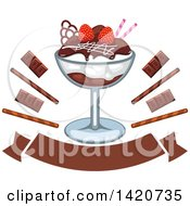 Clipart Of An Ice Cream Sundae With Chocolate And Strawberry Royalty Free Vector Illustration by Seamartini Graphics