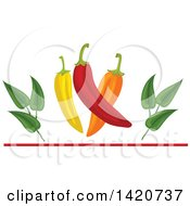 Clipart Of A Spicy Chile Peppers And Leaves Over A Red Line Royalty Free Vector Illustration by Seamartini Graphics