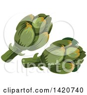 Clipart Of Artichokes Royalty Free Vector Illustration by Vector Tradition SM