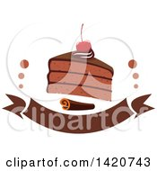 Clipart Of A Slice Of Chocolate Cake Topped With A Cherry With A Cinnamon Stick Over A Banner Royalty Free Vector Illustration by Seamartini Graphics