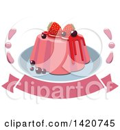 Clipart Of A Berry Dessert Over A Banner Royalty Free Vector Illustration by Seamartini Graphics