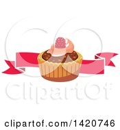 Clipart Of A Tart Or Cupcake Over A Banner Royalty Free Vector Illustration by Seamartini Graphics