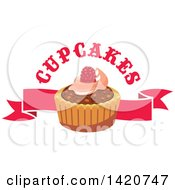 Clipart Of A Tart Or Cupcake Over A Banner With Text Royalty Free Vector Illustration by Seamartini Graphics