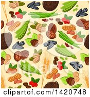 Clipart Of A Seamless Pattern Background Of Nuts Royalty Free Vector Illustration by Seamartini Graphics