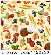 Clipart Of A Seamless Pattern Background Of Nuts Royalty Free Vector Illustration by Vector Tradition SM