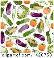 Clipart Of A Seamless Pattern Background Of Vegetables Royalty Free Vector Illustration by Seamartini Graphics