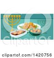 Clipart Of A Jewish Food Menu Header Or Border Royalty Free Vector Illustration by Seamartini Graphics