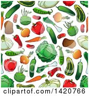 Clipart Of A Seamless Pattern Background Of Vegetables Royalty Free Vector Illustration by Vector Tradition SM