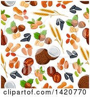 Clipart Of A Seamless Pattern Background Of Seeds And Nuts Royalty Free Vector Illustration by Seamartini Graphics