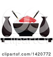 Clipart Of A Bowl Of Sticky Rice With Salmon Sashimi Sake And Chopsticks Royalty Free Vector Illustration by Vector Tradition SM