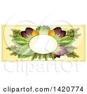 Clipart Of A Blank Oval Banner Framed With Lemons And Greens On Beige Royalty Free Vector Illustration