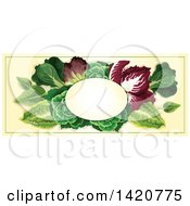 Blank Oval Banner Framed With Greens On Beige