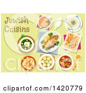 Clipart Of A Table Set With Jewish Cuisine Royalty Free Vector Illustration by Seamartini Graphics