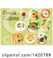 Clipart Of A Table Set With Greek Cuisine Royalty Free Vector Illustration