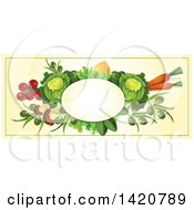 Clipart Of A Blank Oval Banner Framed With Beans Greens Cabbage Tomatoes Olives Lemon And Carrots On Beige Royalty Free Vector Illustration