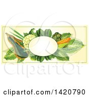 Clipart Of A Blank Oval Banner Framed With Zucchini Cauliflower Corn Artichoke And Greens On Beige Royalty Free Vector Illustration