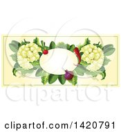 Clipart Of A Blank Oval Banner Framed With Chile Peppers A Radish Onion Lettuce And Cauliflower On Beige Royalty Free Vector Illustration