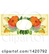 Clipart Of A Blank Oval Banner Framed With Corn Lettuce And Pumpkins On Beige Royalty Free Vector Illustration