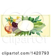 Clipart Of A Blank Oval Banner Framed With Spicy Oil And Salad Green Leaves On Beige Royalty Free Vector Illustration