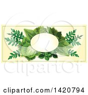 Clipart Of A Blank Oval Banner Framed With Salad Greens On Beige Royalty Free Vector Illustration