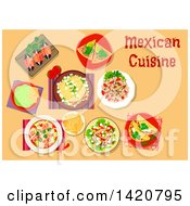Clipart Of A Table Set With Mexican Cuisine Royalty Free Vector Illustration by Vector Tradition SM