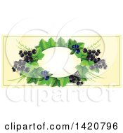 Clipart Of A Blank Oval Banner Framed With Blueberries And Black Currants On Beige Royalty Free Vector Illustration