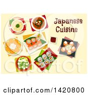 Clipart Of A Table Set With Japanese Cuisine Royalty Free Vector Illustration