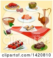 Clipart Of Turkish Cuisine Royalty Free Vector Illustration