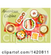 Clipart Of A Table Set With Vietnamese Cuisine Royalty Free Vector Illustration
