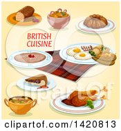 Clipart Of British Cuisine Royalty Free Vector Illustration