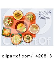 Clipart Of A Table Set With British Cuisine Royalty Free Vector Illustration by Vector Tradition SM