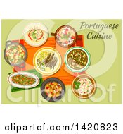 Clipart Of A Table Set With Portuguese Cuisine Royalty Free Vector Illustration