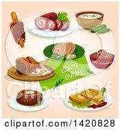Clipart Of Czech Cuisine Royalty Free Vector Illustration