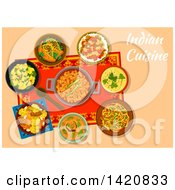 Clipart Of A Table Set With Indian Cuisine Royalty Free Vector Illustration