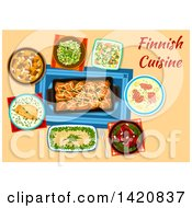 Clipart Of A Table Set With Finnish Cuisine Royalty Free Vector Illustration