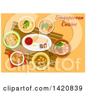 Clipart Of A Table Set With Singaporean Cuisine Royalty Free Vector Illustration
