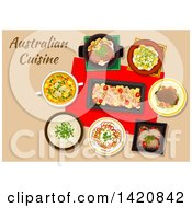 Clipart Of A Table Set With Australian Cuisine Royalty Free Vector Illustration by Vector Tradition SM