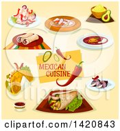 Clipart Of Mexican Cuisine Royalty Free Vector Illustration