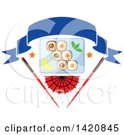 Clipart Of A Plate Of Sushi Rolls Wasabi And Lemon Slices Over A Fan And Chopsticks With A Blank Banner Royalty Free Vector Illustration by Vector Tradition SM