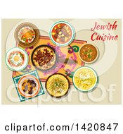 Clipart Of A Table Set With Jewish Cuisine Royalty Free Vector Illustration